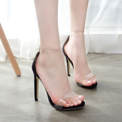 Sexy Transparent High-heeled Dress shoes FD697-3 black 37