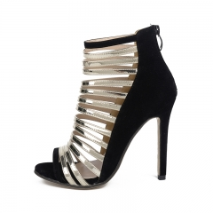 Big wind hollow thin belt high heels FD278-5 black