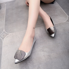Women's shallow mouth soles flat shoes 918 silver 40