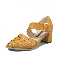 Women's shoes pointed hollow high-heeled sandals C-888 yellow 38