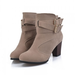 New Womens Shoes Fashion Rough Ladies Sexy Boots Suede Plus Size 35-42 156 beige 38