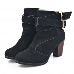 New Womens Shoes Fashion Rough Ladies Sexy Boots Suede Plus Size 35-42 156 black 39