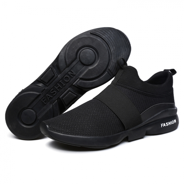 New Fashion Men's Casual Running Sport Shoes Man Breathable Flats Shoes X666 black 43