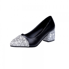Women's shoes new cashmere pointed sequins shallow mouth high heels 668 black 39
