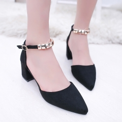 New Women's High Heels Pumps Sexy Bride Party Thick Heel Pointed Toe High Heel Shoes for Girls black 34