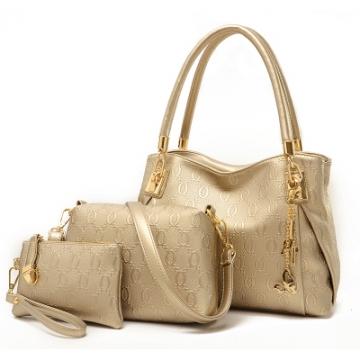 fashion pu leather  handbag women messenger bags brand designs bag Handbag+Messenger Bag+Purse 1 set gold standard