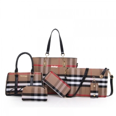PU Canvas Composite Bag article six woolly plaid lash Handbag Set Fashion Women black One size