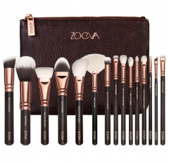 15pcs professional luxury complete makeup brush set bag Coffee 15pcs