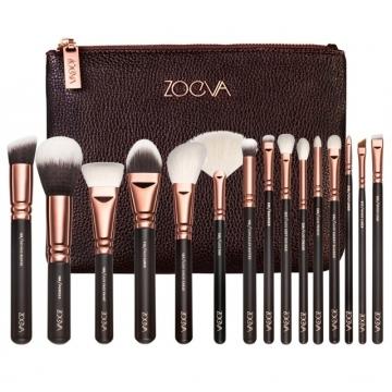 15pcs professional luxury complete makeup brush set bag Coffee 15pcs