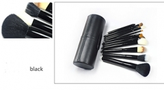 12 Goat Hair Makeup Brush Kit Makeup Tools Set black