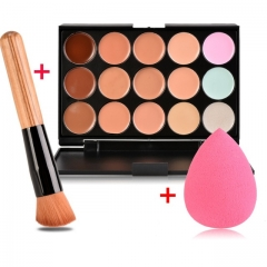 Concealer 15 Color Makeup Palette +Wooden Handle Brush +Puff Face Foundation Bronzer NORMAL