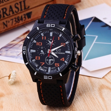 Mens Roman Numerals Black Ray Racing Silicone Glass Watches Man Luxury Analog Sport Wrist Watch Orange One Size
