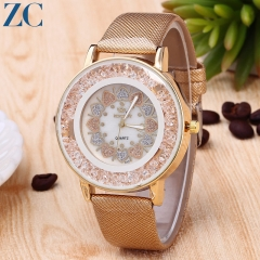 New Quartz Watch Ladies Waterproof Leather Watches Fashion Romantic Woman Watch Gold