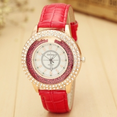 Quartz CZ diamond Ball Watch Women Luxury Brand Ladies Casual Dress Leather Strap Girls Clock Female red