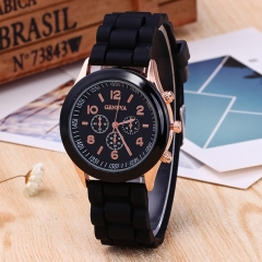 Quartz Geneva Watches Women Fashion Casual Quartz-watch Student Silicone Jelly Watch Unisex black