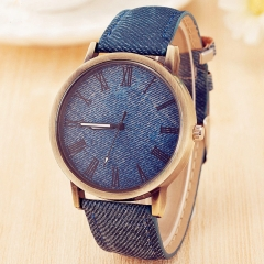Retro Watch Women Geneva Leather Wristwatch Men Roman Elegant watch Fashion Watches blue