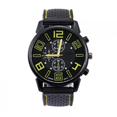 Men Silicone Roman Numerals Ray Racing Elegant Business Watches Luxury Analog Sports Wristwatch yellow