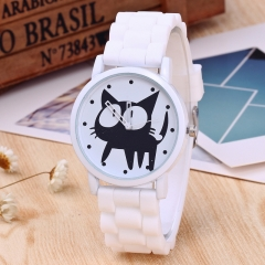 Ladies Black Cat Silicone Watches Cute Fashion Quartz Casual Waterproof Watch For Kids white