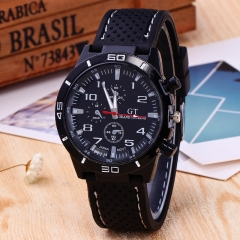 Mens Roman Numerals Black Ray Racing Silicone Glass Watches Analog Sport Wristwatch white one size