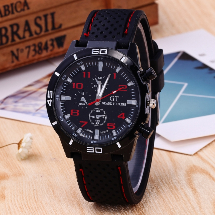 Mens Roman Numerals Black Ray Racing Silicone Glass Watches Analog Sport Wristwatch red one size
