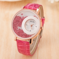 Women Creative Watches Geneva Brand Fashion Ladies Watches Leather women Analog Quartz Wrist Watch rose red