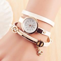 Rhinestone Watches Women Luxury Leather Bracelet watches Quartz Dress Watches white