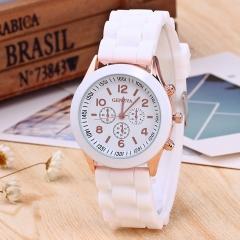Quartz Geneva Watche Women Fashion Casual Quartz-watch Student Silicone Jelly Watch Valentines Gift white