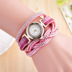 Women Cross Quartz Watches Bracelet Wristwatches stainless steel bracelet Girls Diamond-studded pink