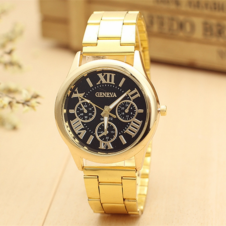 Luxury Men Stainless Steel Gold Watch Quartz Clock Sports Waterproof Wrist Watches gold one size