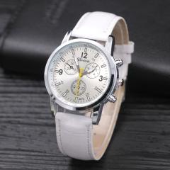 New Geneva Women Ladies Watch Fashion Quartz-Watch Round Dial Clock Casual Sport Leather WristWatch white