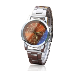 Men Watch Fashion Geneva Analog Quartz Leisure Sports Business Steel Strip Watch White brown one size