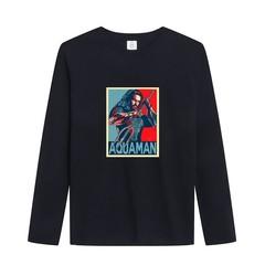New Fashion Winter Superhero Aquaman T-Shirt Mens Long Sleeve 100% Cotton Shirts
