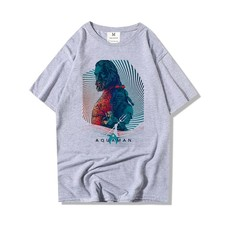 2019 Men's O Neck Cotton T-shirt Superhero Aquaman Print Short Sleeve Casual Tee