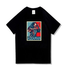 New Aquaman DC Comics Movie Black Mens Short Sleeve Cotton Tshirt Plus Size Tops