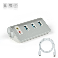 FREEGENE USB 3.0 3-Port Hub with Stereo Sound Adapter Combo silver 22-aw772 1