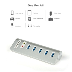 FREEGENE USB 3.0 Hub 5 Ports with SD/TF Card Reader and External Stereo Sound Adapter Combo silver 22-aw775 1