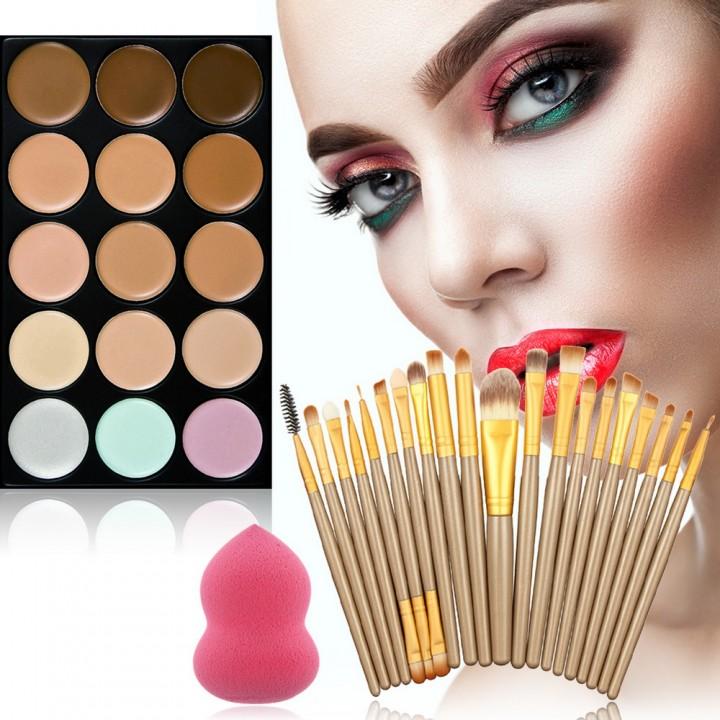 15 Colors Face Contour Cream Makeup Concealer Palette Professional 20 Brush Set as picture