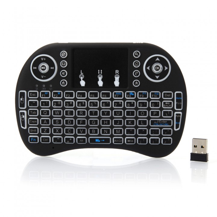 3-color Backlight i8 Wireless Keyboard 2.4GHz Keyboard Remote Control Touchpad black one size