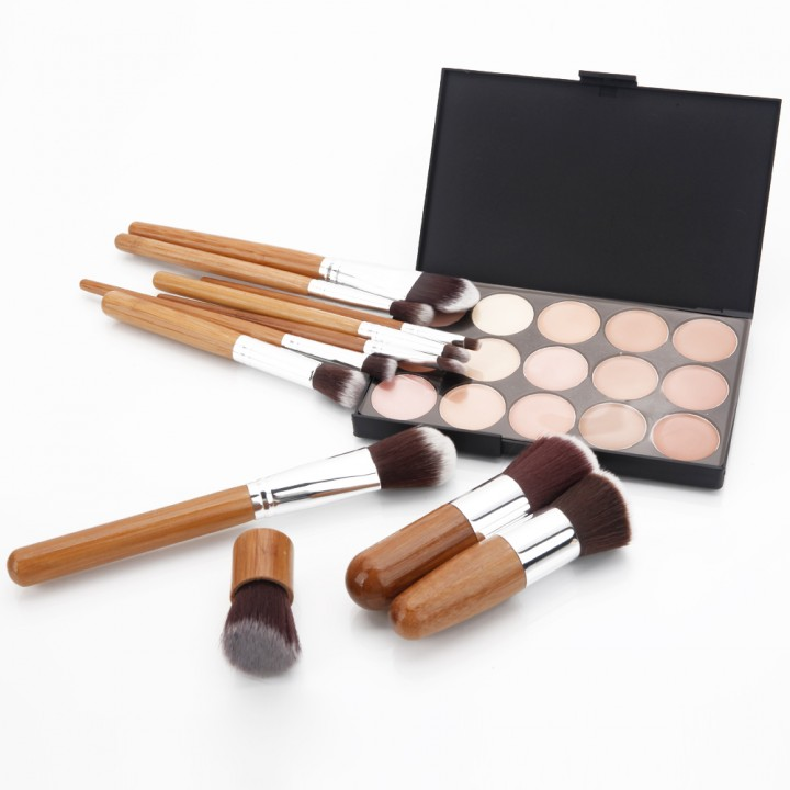 11pcs Mefeir Carbonized Bamboo Handle Cosmetic Makeup Brush Kit + 15-Color Concealer Palette 2# as picture