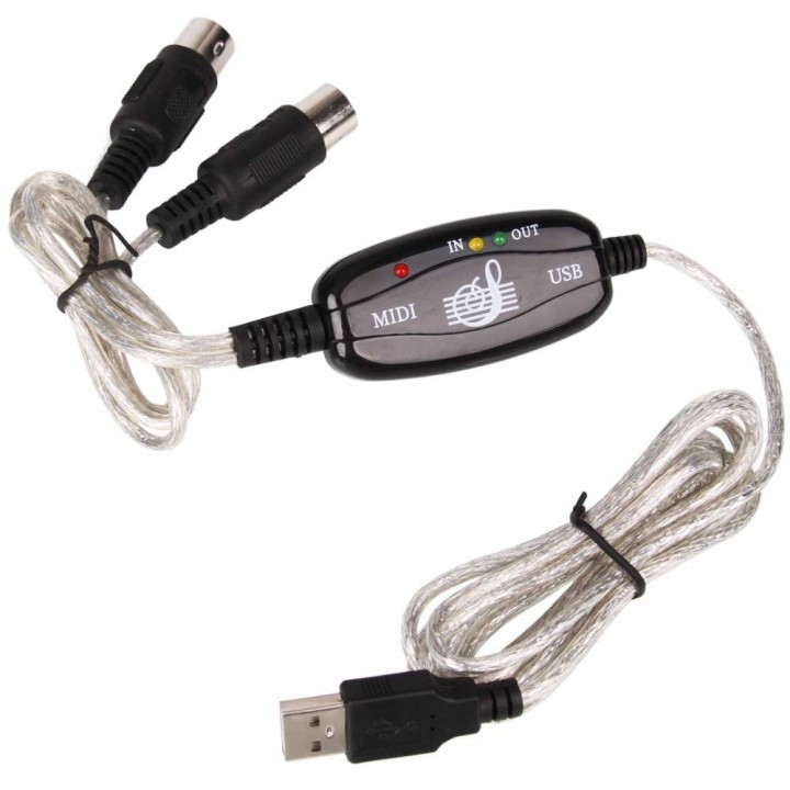 High Quality PC USB to MIDI keyboard Interface Converter Cable Cord black one size