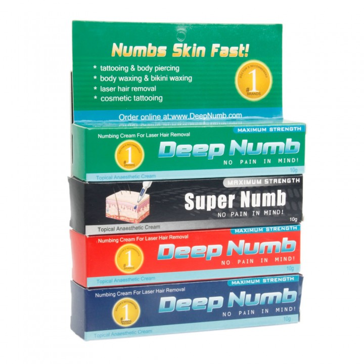 4pcs 7008 Topical Anesthetic Cream Tattoo Numb Set as picture