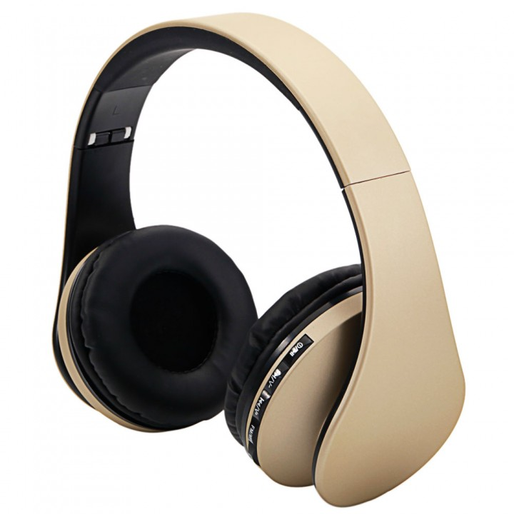 Wireless Bluetooth Stereo Headset Foldable Headphone Earphone for iPhone Samsung Champagne