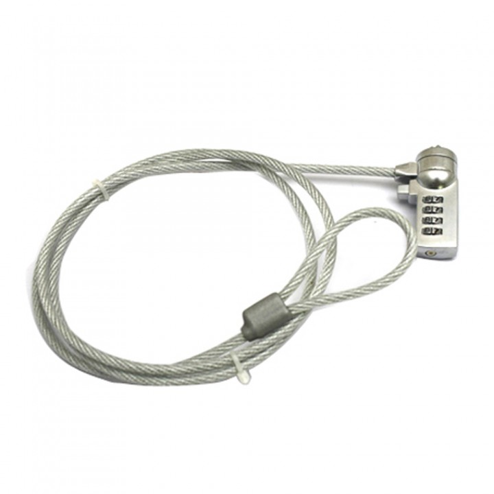 Laptop Notebook Desktop Combination Anti-Theft Lock Chain Security Cable with Key silver one size