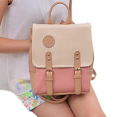 Fashion Korean Style Contrast Color PU Backpack School Bag Good Quality Beige & Pink one size