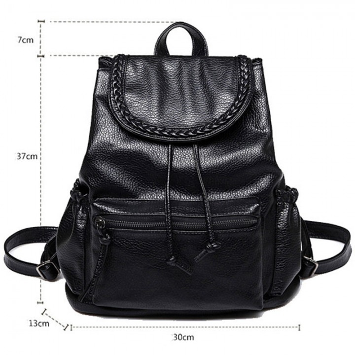 Women's New Backpack Travel PU Leather Handbag Rucksack Shoulder School Bag black one size