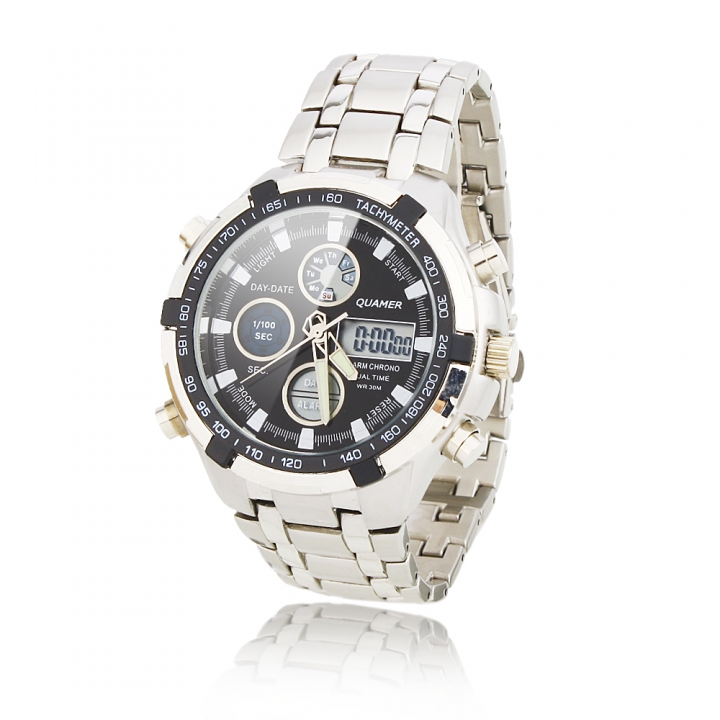 Fashion Men's LED Digital Quartz Wrist Watch Luxury Watch Leather Sport Watches as picture one size