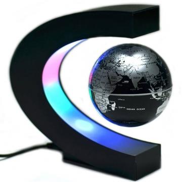 Kilimall c shape led world map decoration magnetic levitation c shape led world map decoration magnetic levitation floating globe silver one size gumiabroncs Gallery