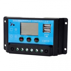 10A 12V/24V PWM Solar Panel Battery Auto Controller Charge Regulator With 2 USB blue one size no