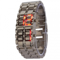 Volcanic Lava Iron Samurai Metal Faceless Bracelet Fashion LED Wrist Watch silver