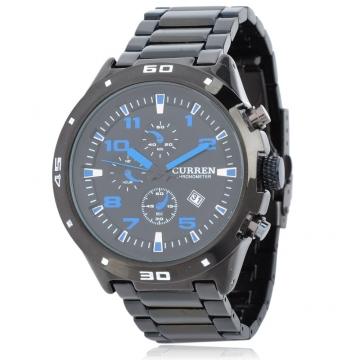 CURREN Men's Date Quartz Waterproof Stainless Steel Band Analog Wrist Watch black one size